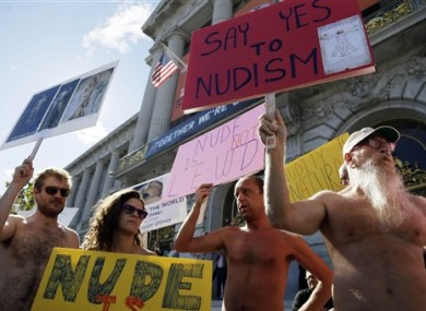 Naked protesters in front of San Francisco city hall