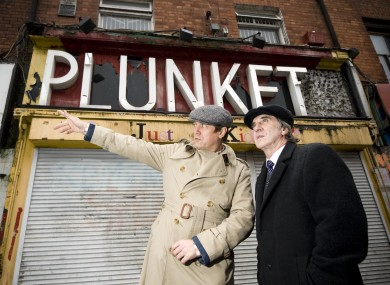 Patrick Cooney, spokesperson for Save Moore Street campaign, and James Connolly Heron, grandson of 1916 leader James Connolly outside 16 Moore Street last month.