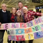 Philip Guildea is welcomed home for Christmas by his father Stephen, mother Roslyn and sisters Megan (15) and Ali (12) today at Dublin Airport. Philip has been working in Melbourne as a carpenter for two years. Photo: Mark Stedman/Photocall Ireland
