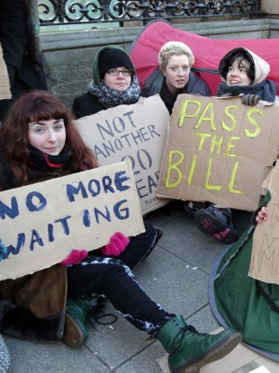 Pro-choice protests outside the Dáil last month.