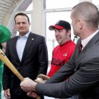 Varadkar, again with Peter Kavanagh (2nd from right) from the Dublin City Hurricanes baseball team and rugby star Alan Quinlan. Photo: Mark Stedman/Photocall Ireland