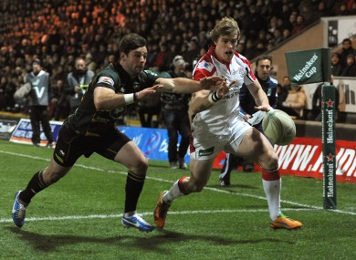 Ben Foden (left) fails to prevent an Andrew Trimble try.