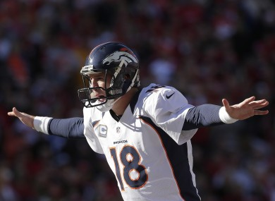Denver Broncos quarterback Peyton Manning calls a play during the first half of his NFL game Sunday.
