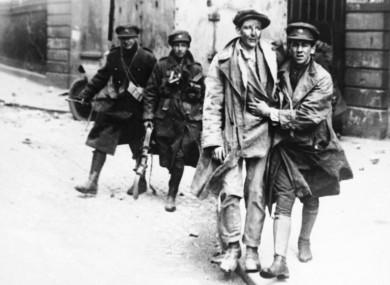 Rebel forces surrender in Dubin on 13 July, 1922 during the Irish Civil War.