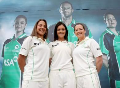 (L-R) Elena Tice, Emma Flanagan and Isobel Joyce of the Ireland women's team (file photo).