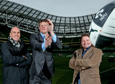 Dempsey, O'Kelly and Byrne at the Aviva to promote the Legends game.