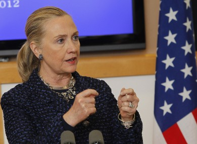 US Secretary of State Hillary Clinton hosts a press conference with Taoiseach Enda Kenny in Government Buildings, Dublin.
