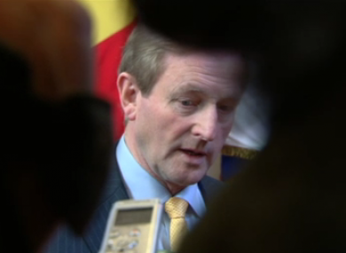 Enda Kenny speaks to Irish reporters at the conclusion of the two-day summit of EU leaders in Brussels.