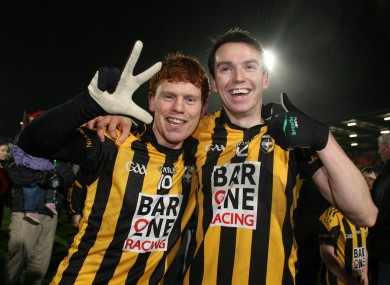 Kyle Carragher and Tony Kernan of Crossmaglen celebrate.