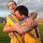 The value of the provincial championships? It's captured here after Clare's notable victory over Limerick. Defender Laurence Healy (left) celebrates with David Tubridy, who shot the last two points of the game to seal their win. (INPHO/Lorraine O'Sullivan).