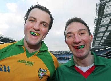 Donegal's Michael Murphy with Alan Dillon of Mayo on Thursday.