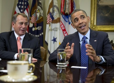 The two protagonists: Speaker of the House John Boehner, a Republican, and President Barack Obama, a Democrat.