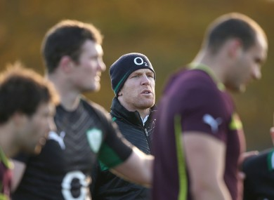 Paul O'Connell observes Ireland training in November.