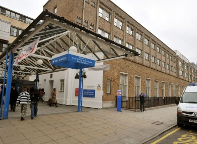 The main entrance to the Great Ormond Street Hospital for children in central London (File photo)