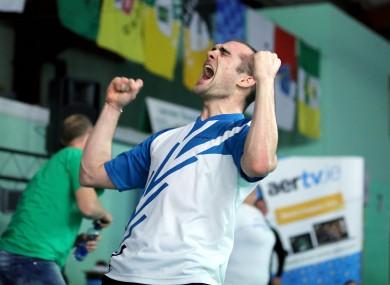 Scott Evans celebrates his Irish Open victory.