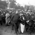 A suffragette is removed by police during a meeting in Sutton-on-Ashfield, 1913, addressed by David Lloyd George. (PA Archive)