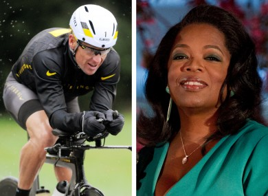 Oprah will interview Armstrong, left, in his home on Monday.