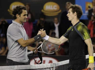 Roger Federer congratulates Andy Murray after the match.