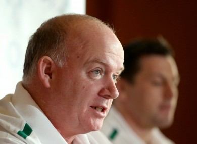 Ireland coach Declan Kidney speaks at yesterday's team announcement.