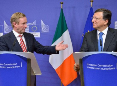 Enda Kenny speaks with European Commission president Jose Manuel Barroso after a summit between Irish ministers and European commissioners in Brussels last October.