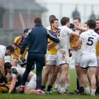 There is a dust-up at the end of a game. The temperature rises at the end of Kildare and Wexford's battle in Newbridge.