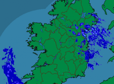 A Met Éireann rainfall radar of Ireland at 10.30am this morning