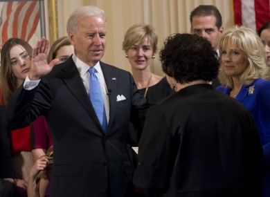 Joe Biden takes the oath of office during the 57th Presidential Inauguration official swearing-in ceremony at the Naval Observatory, administered by Supreme Court justice Sonia Sotomayor.