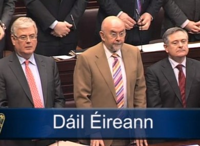 Eamon Gilmore, Ruairí Quinn and Brendan Howlin during Leaders' Questions this morning