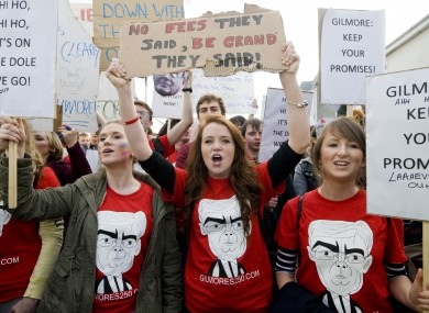 Students from UCD and the Dún Laoghaire IADT protest outside Eamon Gilmore's office in November