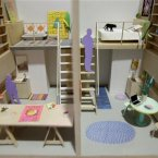 A model of micro-apartments are displayed at the exhibit at the Museum of the City of New York. (AP Photo/Seth Wenig)