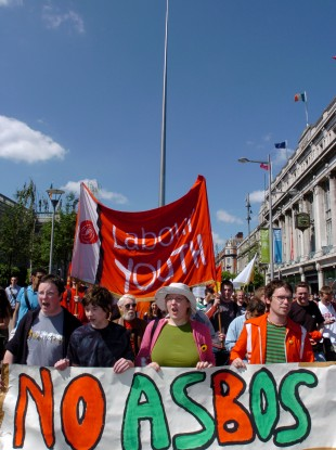 Students protest the introduction of ASBOs in Dublin city centre in 2005