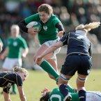 Fiona Coghlan tries to break the Scottish line. ©INPHO/Dan Sheridan