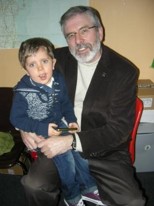 Billy Cairns with Sinn Féin leader Gerry Adams