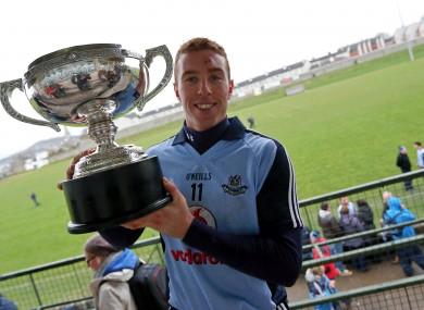 Dublin's John McCaffrey with the Walsh Cup.