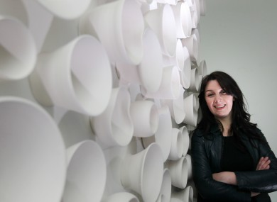 Olga Fitzpatrick with her piece 'Memory Vessels: A Few Among Many'