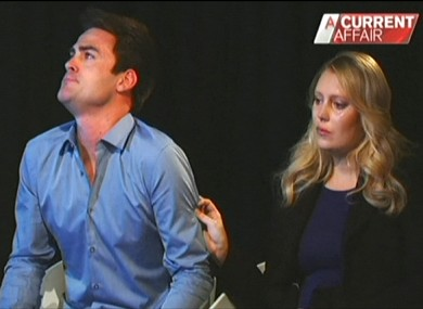 Michael Christian (L) and Mel Greig on Australian TV last year