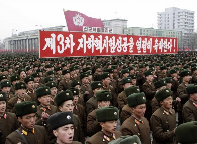 North Korean army officers and soldiers attend a rally at Kim Il Sung Square on Thursday, Feb. 14, 2013, in Pyongyang, North Korea, in celebration of the country's recent nuclear test.