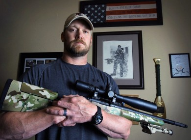 Chris Kyle poses in Midlothian, Texas in April of last year.