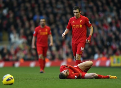 Stewart Downing looks after Borini is hurt.