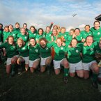 The Ireland players celebrate after their historic Triple Crown success. ©INPHO/Dan Sheridan