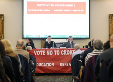 LtoR) Kevin Farrell (TUI) and Mark Walshe (ASTI) pictured on stage at a rally of education workers in the public sector in the Gresham Hotel