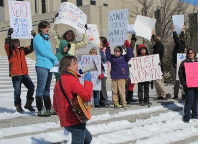 Women protesting at an abortion-rights rally in North Dakota.