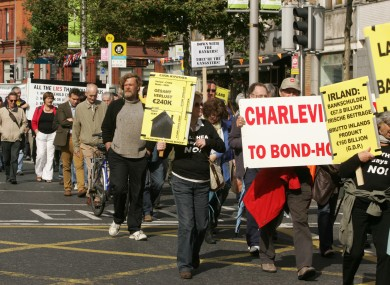 The Ballyhea protestors at a demostration in Dublin last September. Some of the participants have today travelled to Brussels.