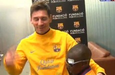 Blind boy visits Barcelona, recognises most of the players by touch