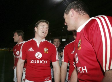 Brian O'Driscoll and Richard Hill on Lions duty.