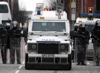File photo of PSNI officers in riot gear in Belfast