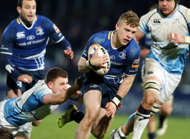 Leinster's Ian Madigan runs in for a try.