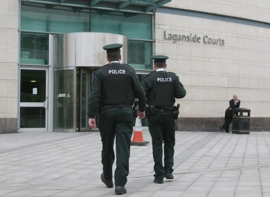 Police officers outside Belfast Crown Court