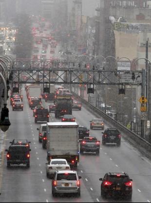 Morning rush hour traffic makes its way over the Williamsburg bridge into Manhattan.