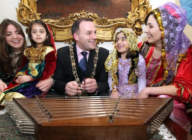 Dublin's Lord Mayor Naoise Ó Muirí with guests at the launch of Nowruz in Dublin on Tuesday